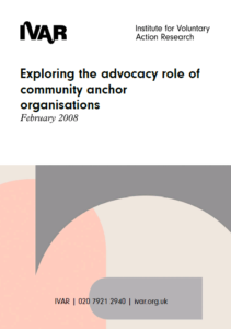 Front cover image for exploring the role of community anchor organisations