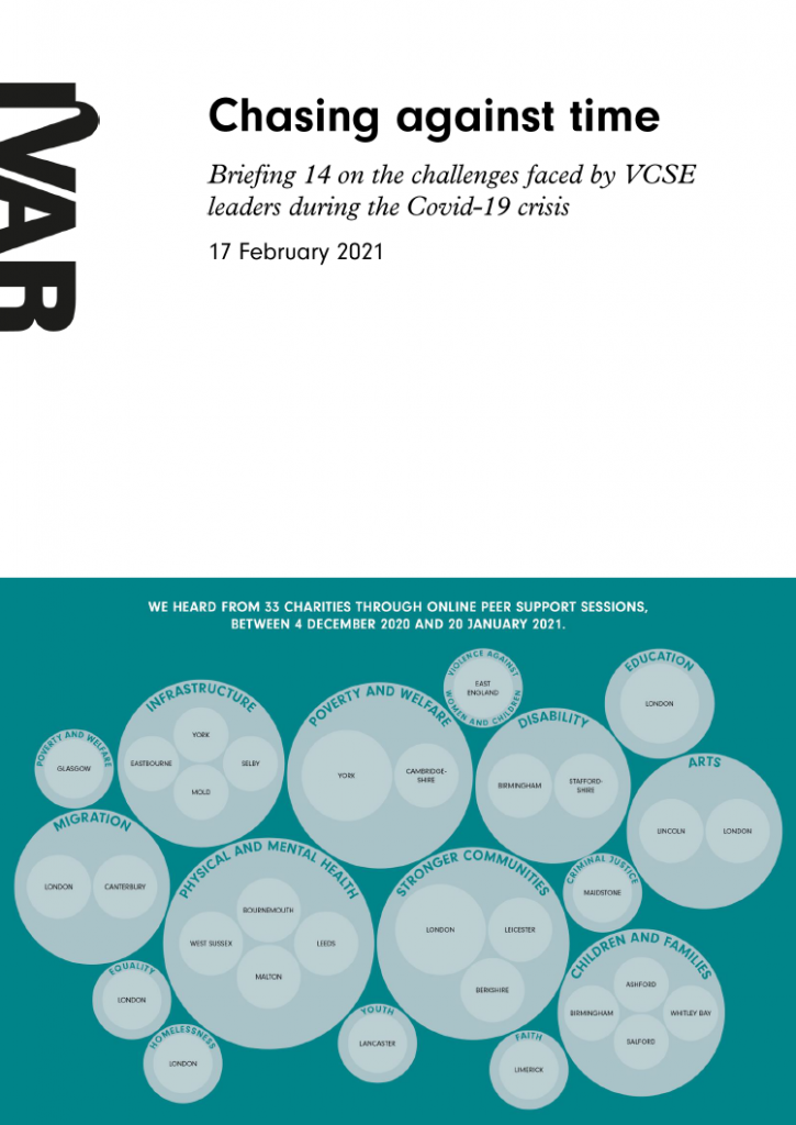 Cover for briefing 14 paper: peer support for VCSE leaders.