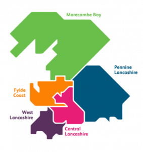The 5 areas of the Lancashire and South Cumbria ICS.