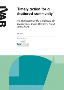 Title page of timely action for a shattered community fund evaluation report.