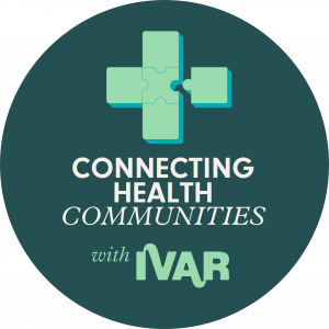 A flagship badge for the Connectin health communities with IVAR programme. It is a dark green badge, with a mint green cross made up of puzzle pieces with one puzzle piece about to connect to the cross.