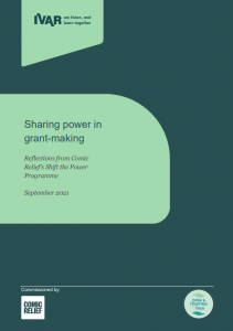Front cover to Sharing power in grant-making: a review of Comic Relief's Shift the Power programme.